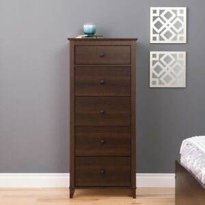 Details About Tall 5 Drawers Chest Wood Dresser Storage Bedroom Home Office Furniture Espresso