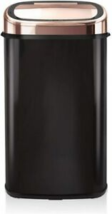 Tower Square Sensor Bin Infrared Technology Stainless Steel Black and Rose 58L
