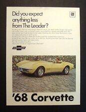 1968 Chevrolet Corvette Stingray General Motors print car ad gift 1969 1970 yel