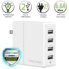 FosPower 4 Port USB Rapid Fast Wall Home Charger Hub for iPhone 7 6 Samsung LG