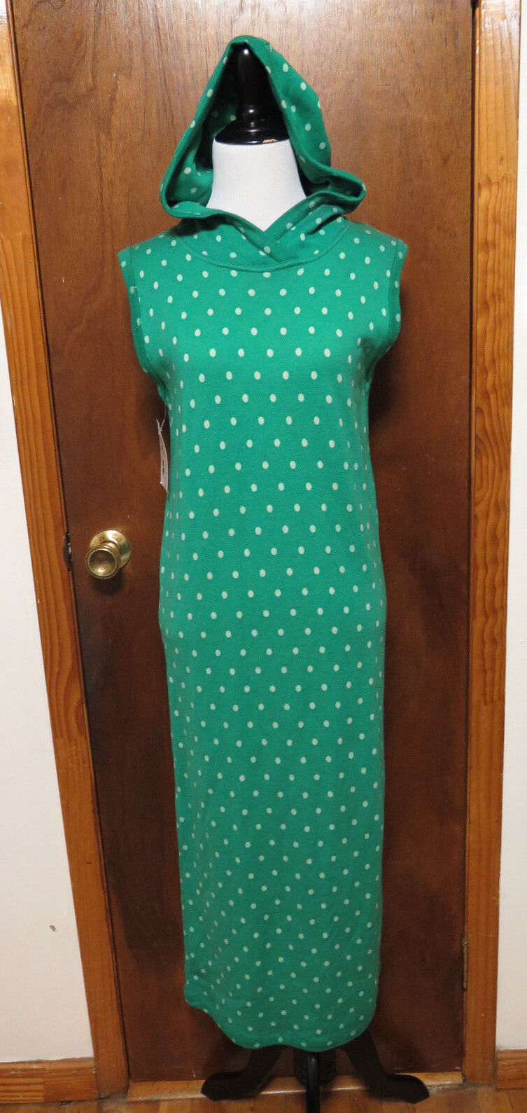Vintage Kenzo Green Polka Dot Knit Wool Hooded Sleeveless  Shift Dress Sz M L