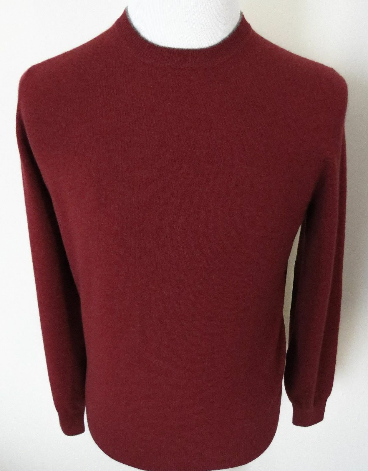 1480 BRUNELLO CUCINELLI Rust 100% Cashmere Sweater with Suede Trim 48 EU Small