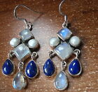 Moonstone Cultured Pearl and Lapis 925 Sterling Silver Dangle Earrings