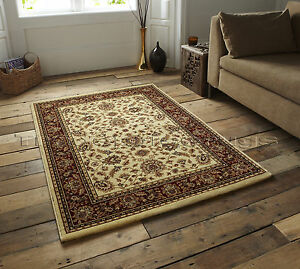 SMALL-EXTRA-LARGE-BEIGE-amp-RED-TRADITIONAL-CLASSIC-THICK-LUXURY-WOOL-LOOK-RUGS
