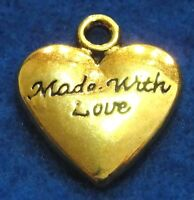 10pcs. Tibetan Gold-plated Heart made W/ Love Charms Pendants Findings H156