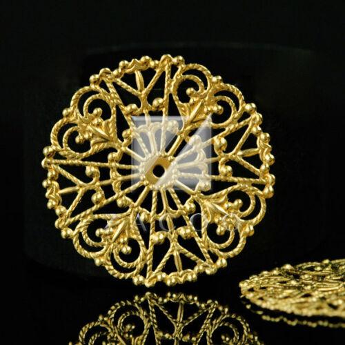 10pcs Filigree Metal Links for Jewelry Making Craft Flat Round 31mm MB0552