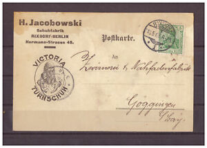 Deutsches-Reich-Firmenkarte-MiNr-85-Berlin-Rixdorf-nach-Goeggingen-13-05-1908