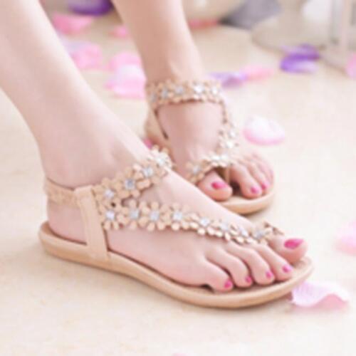 Bohemia Womens Summer Slippers Sandals Floral Flip Flops Flat Beach Thong Shoes