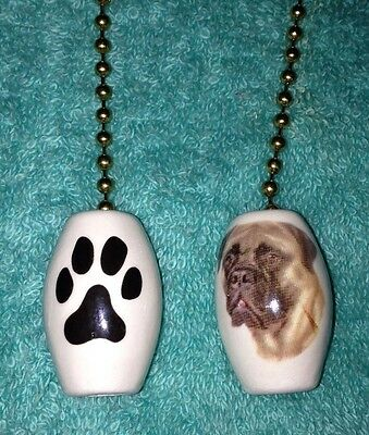 """One Bullmastiff Dog Fan Pull With A Paw Print On The Back 1/"""""""