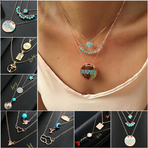 Multilayer-Fashion-Women-Alloy-Clavicle-Choker-Necklace-Pendant-Chain-Jewelry