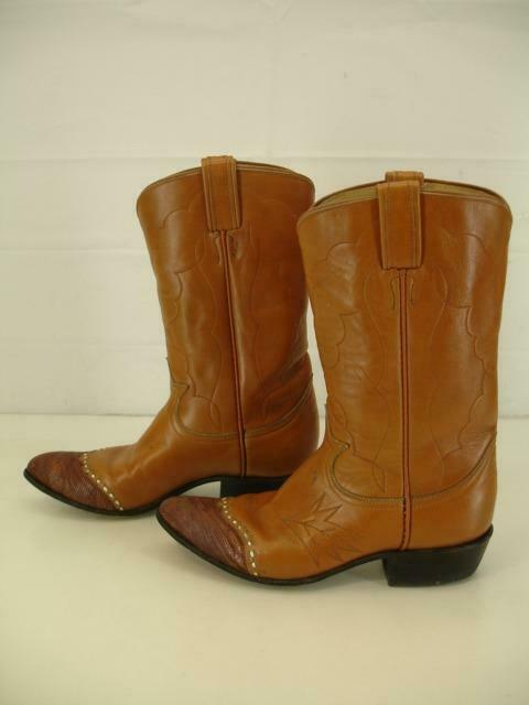 Mens 5.5 B Womens 6.5 M Vtg 1950s Tony Lama Cowboy Boots Lizard Tips Tan Leather