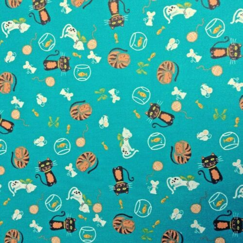 Bundle Remnant Polycotton Fabric 35 cm x 112 cm JADE Kitty Cat Pet /& Mouse