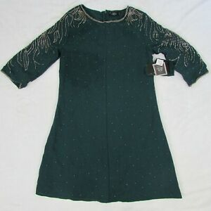 Women-039-s-Volcom-Stone-Row-Mini-Dress-Short-Sleeve-Dark-Green-Metal-Accents-Size-S