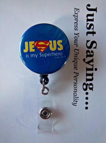JESUS is my Superhero Luke 19:10 ~ Retractable Reel ID Badge Holder