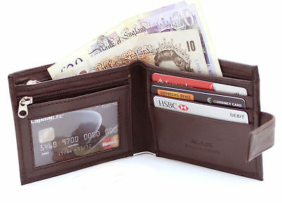 MENS QUALITY LUXURY SOFT BROWN REAL LEATHER COIN CREDIT CARD HOLDER WALLET