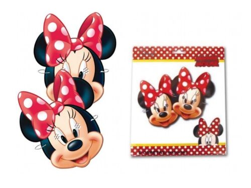 X 12 MINNIE MOUSE DRESS UP CARD MASKS FANCY DRESS PARTY BAG FILLERS FACE MASK