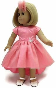 Coral Dress With Tiered Hem Hair Band Made For 18 American Girl