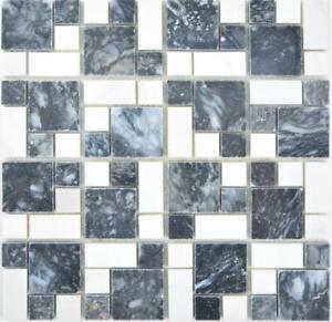 Dettagli su Mosaico Tessere Marmo Pietra Cucina Bagno Specchio Nero Bianco  88-0302 |1 foglio