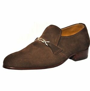 1a9aeb29032d9 Details about Weber Handmade Brown Suede Leather Shoes With Monk Strap