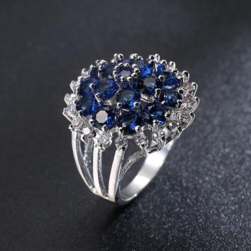 Mulit Round Cut Natural London Blue Topaz White Fire Topaz Silver Ring Size 6-10