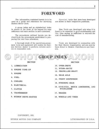 1951 Hudson Shop Manual Pacemaker Commodore Hornet Super Custom Service Repair