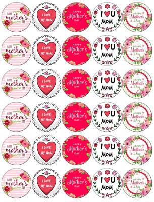 Mothers Day 30 Cupcake Toppers Edible Wafer Paper Fairy Cake Toppers