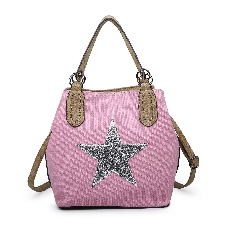 Canvas Smart Shopper Schulter Pendeln Handtasche reizende Frau Lady S Medium Star Tasche