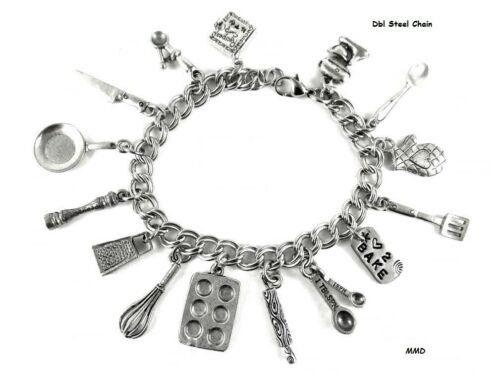 Baking Women/'s Charm Bracelet Bake Pan Kitchen Gadgets Measuring Spoons Cooking