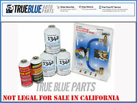 3 Cans Of Dupont R-134a Freon Plus Ester Oil, Leak Stop & R-134a Hose W/ Gauge