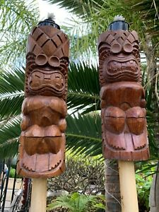 New-KU-Tiki-Tiki-Torch-Smokin-039-Tikis-Hawaii-SET-OF-2