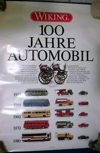 WIKING 100 JAHRE AUTOMOBIL Poster Plakat v. 1986 gerollt 69 x 49 cm TOP Pelzer - Gelnhausen, Deutschland - WIKING 100 JAHRE AUTOMOBIL Poster Plakat v. 1986 gerollt 69 x 49 cm TOP Pelzer - Gelnhausen, Deutschland