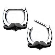 16g septum nose ring clicker body jewelry piercing 316L Mustache GIFT BOX w76