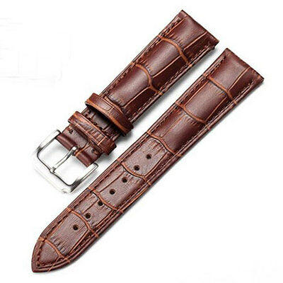 18mm Brown Genuine Leather Watch Band Strap Women Men's Stainless Steel Buckle