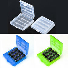6 Pcs Hard Plastic Blue/Green/White Holder AA/AAA Battery Storage Box Case G1CG