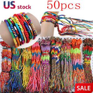 50pcs-Jewelry-Lot-Braid-Strands-Friendship-Cords-Handmade-Bracelets-Wholesale