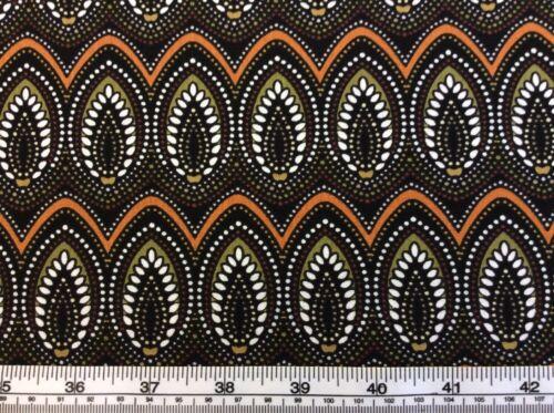 Brown 100/% Cotton Origins By Jennifer Young P793 Oval Leaf Design Benatex