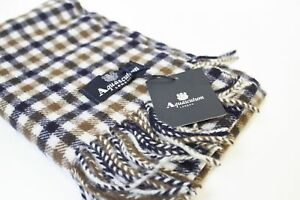 Aquascutum Scarf 100% Lambswool Classic House Check Brand New With Tags Vicuna