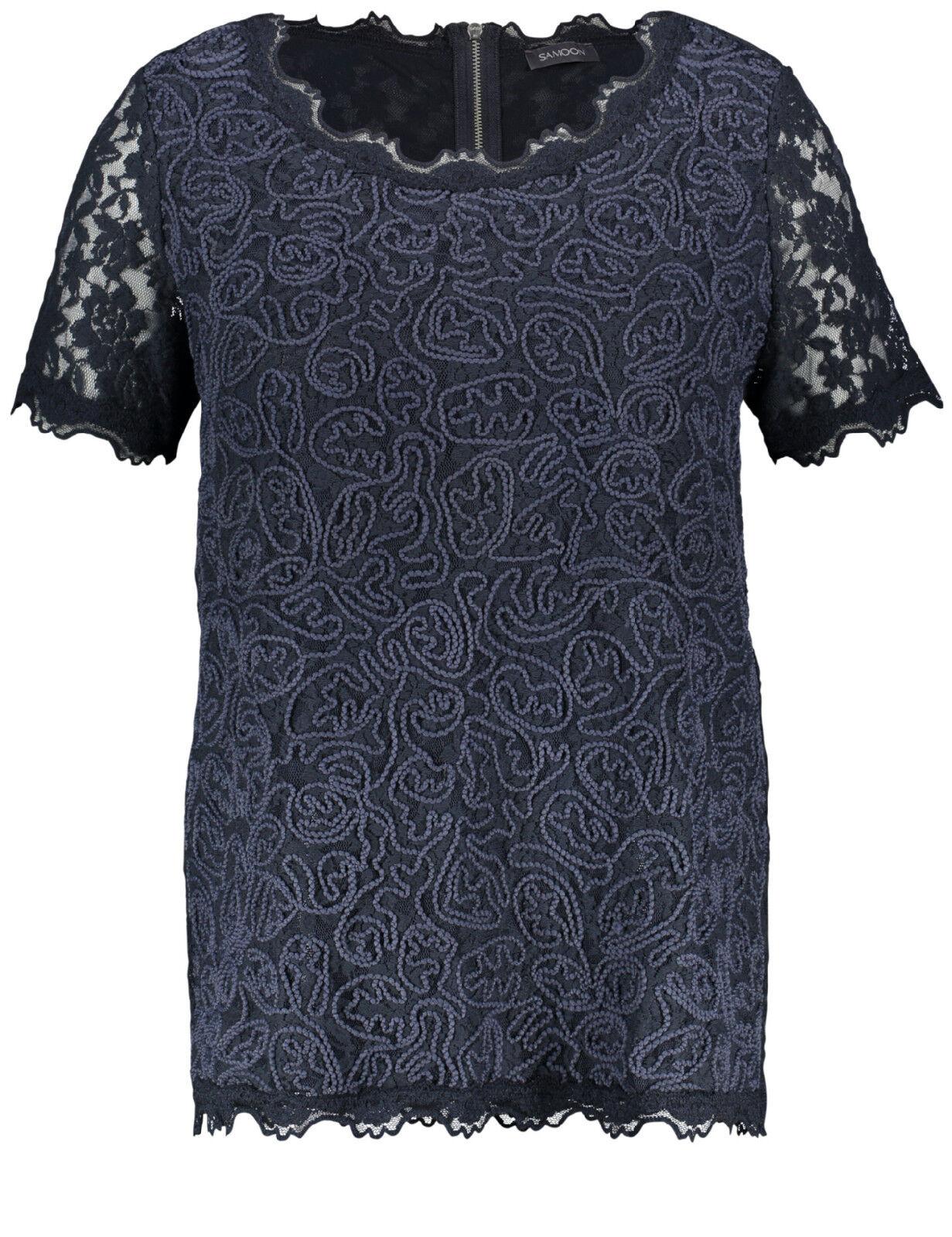 Samoon Spitzenshirt by Gerry Weber blau Smokey-Blau Shirt Spitze Neu Damen Gr.48