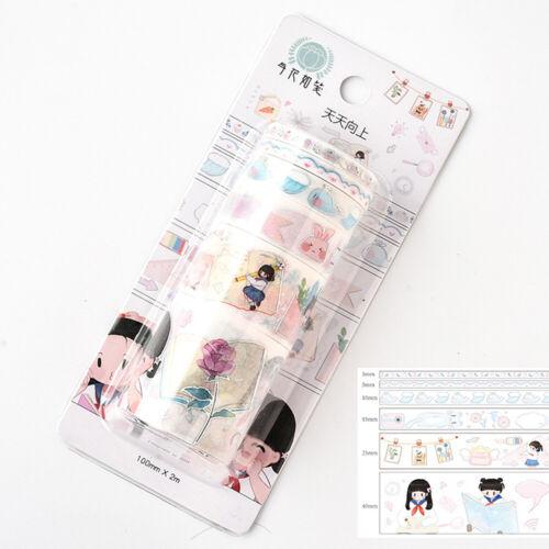 6X Cartoon Washi Tape Adhesive Masking Tape Scrapbooking Stationery Sticker DIY