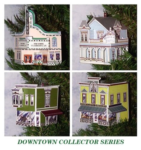 Set of 4 Christmas Pop Up  Victorian Building Ornaments Full Color