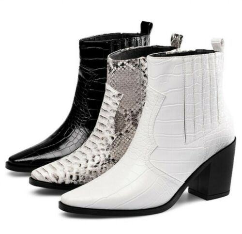 Womens Ankle Chelsea Boots Square Toe Block Heels Snakeskin Print Shoes 41/42/43