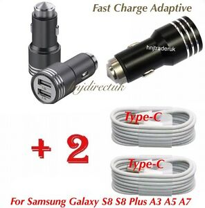 HAMMER-Samsung-Galaxy-S8-S9-A3-A5-In-Car-Fast-Charger-amp-2x-Type-C-USB-Cables