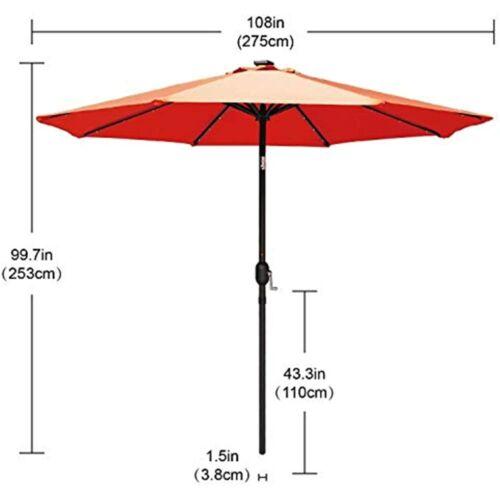 Patio Umbrella Ourdoor Solar LED Umbrellas 32LED Lights Tilt Crank Table For