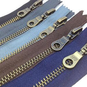 Antique-Brass-Closed-End-No5-Metal-Zip-Heavy-Duty-Zipper-Black-Brown-Navy