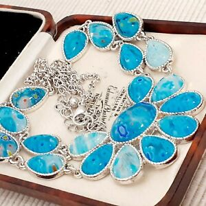 Vintage-Millefiori-Style-Aqua-Blue-Glass-Flower-Cabochon-Bib-Necklace-1