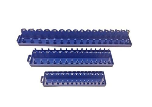 "3pc ABS Plastic Socket Holder Tray Sets Metric 1//4/"" 1//2/"" dr Rail SS013 3//8/"""