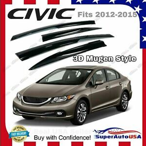 JDM Wavy Mugen Style Tinted Window Visor Rain Guard Vent Compatibility with Hond