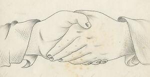 ANTIQUE-1874-AMERICAN-FOLK-ART-HANDSHAKE-DRAWING-OWENSBORO-KY-PARRISH-STIVERS