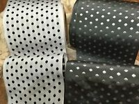 Vintage 3 3/4 Rayon Made In Switzerland Polka Dot Ribbon 1yd Embroidered