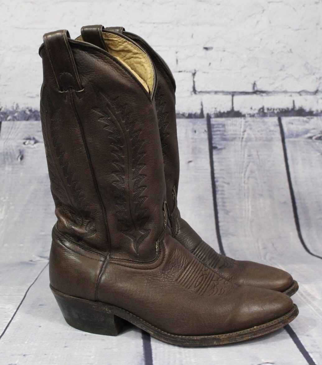 Mens Brown Soft Leather Cowboy Boots Size Quality 8.5 D Unbranded Nice Quality Size 1635 9942 c17141